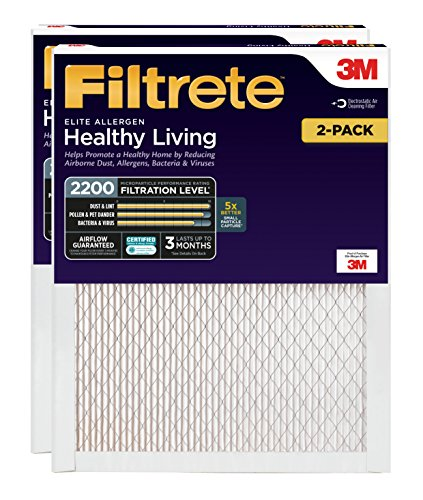Filtrete 14x24x1, AC Furnace Air Filter, MPR 2200, Healthy Living Elite Allergen, 2-Pack