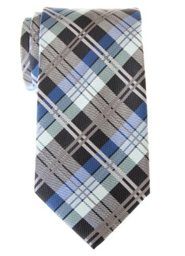Retreez Elegant Tartan Check Woven Microfiber Men's Tie - Dark Grey and Blue (Check Tartan)