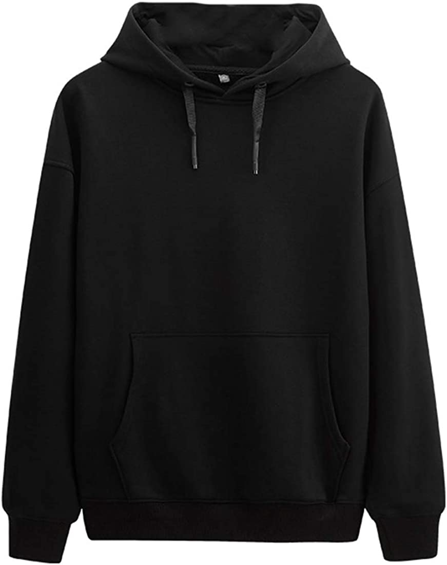 WSPLYSPJY Mens Hoodies Sports Pullover Casual Solid Color Outwear Sweatshirts