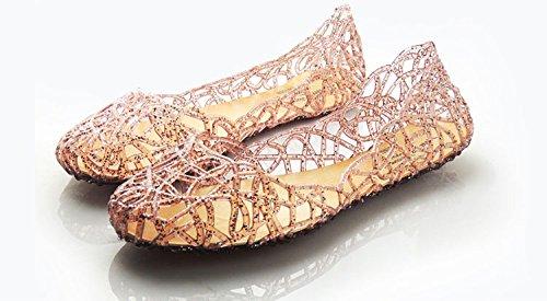 Heel Powder Crystal Shimmering Women Minetom Nest Jelly Rose Shoes Upper Bird Binding Flat BzqT5I