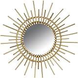 Miroir mural soleil en rotin naturel