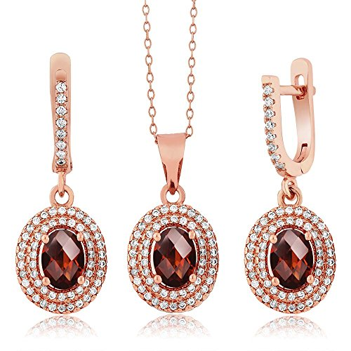 Garnet Rose Jewelry Set (4.03 Ct Checkerboard Red Garnet 925 Rose Gold Plated Silver Pendant Earrings Set)