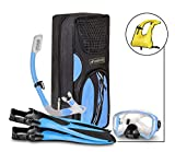 SealBuddy FIJI Panoramic Snorkel set ~ Adult and Junior Diving/Snorkeling Kit - Dry Top Snorkel, Trek Fin, Premium Travel Gear Bag, (Aqua/Blue, Large/XL Size 8 to 12)