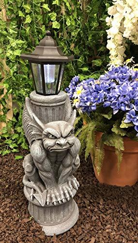 Ebros Faux Stone Gothic Crouching Winged Gargoyle Statue with Solar LED Lantern Light Post 20