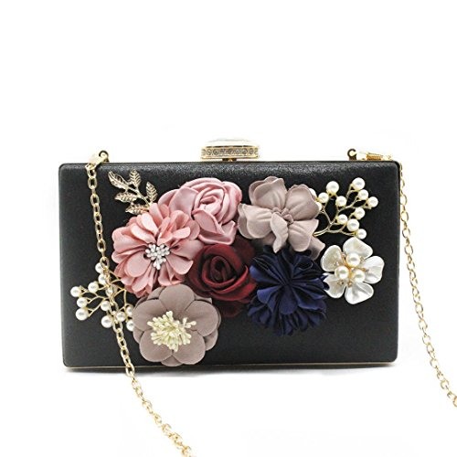 Party Clutches Handbags Women's Black Gallity Bags Flower Bags Black Wedding Evening Purse Clutch ETO4qzw4cZ