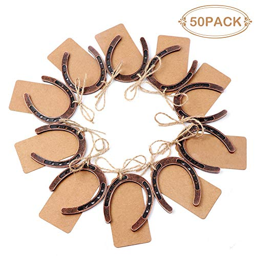PartyTalk 50pcs Good Lucky Horseshoe Wedding Favors for Guests, Vintage Craft Horseshoes Favors with Kraft Gift Tags for Rustic Wedding Birthday Party ()