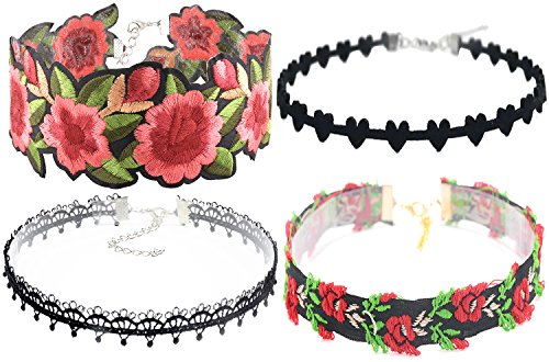 Price comparison product image Choker necklace,New Embroidery Flower Choker Lace Necklace Gothic Tattoo Choker Jewelry collar