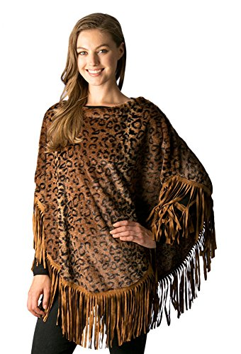 Womens Animal Print Faux Fur Poncho Top with Suede Fringe Detail (7509-Brown)