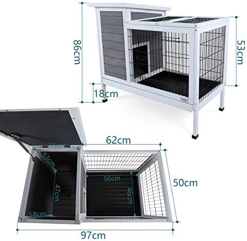 Petsfit Wood Rabbit Cage with Not Leakage Deeper Removable Tray, 38.2 L x 19.6 W x 33.8 H
