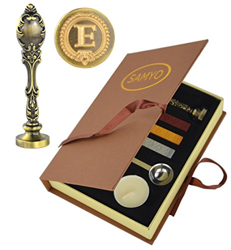 Samyo Creative Romantic Stamp Maker Classic Old-Fashioned Style Brass Color Wax Seal Sealing Stamp Vintage Antique Alphabet Initial Letter Set - (Letter E) - Style Letters