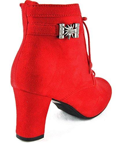 HIRSCHKOGEL Stiefel Stiefelette Trachtenschuhe Rot 2044, Schuhgröße:39