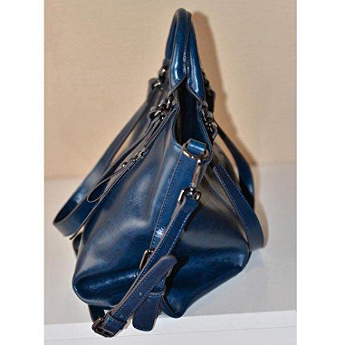 Messaggero Vera Spalla Borsa Tote in a Pelle Donna Sacchetta UOMOGO® Borsa Borsetta Blu Borsa Moda qPOIRw7
