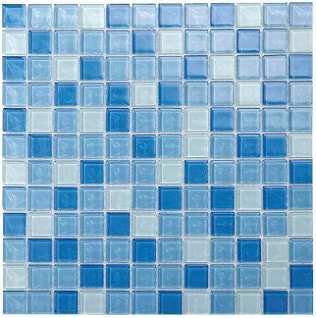Mosaique De Verre Mix Bleu Sur Filet A Coller Carreler Pour Credence Ou Salle Bain Douche Mural Amazon Fr Bricolage