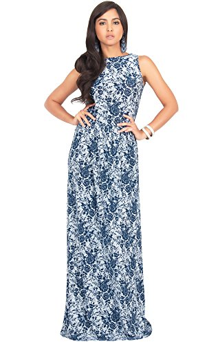 KOH KOH Petite Women Long Sleeveless Vintage Floral Lace Printed Spring Summer Hawaiian Cocktail Party Formal Casual Long Gown Gowns Maxi Dress Dresses, Navy Blue and White S - Date Valantines Day