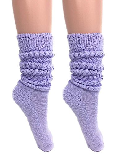 Slouch Socks Women and Men Extra Tall Heavy Cotton Socks Made in USA Size 9 to 11 (Lilac, 2) ()