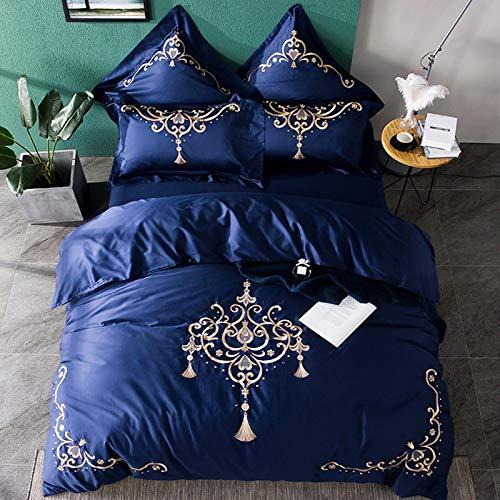 CSYP ヨーロッパの長繊維の綿4枚セット無地の綿4点セット4点セットのベッドの上のキット (Color : Blue, Size : S) B07Q353HJB