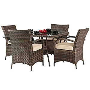 dallas 4 seater rattan dining set brown rattan garden furniture set 4 seater dining set outdoor patio table and chair set - Garden Furniture 4 Seater Sets
