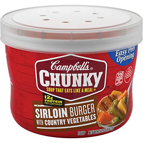 Campbell's Chunky Sirloin Burger with Country Vegetables Soup Microwavable Bowl, 15.25 oz. (Pack of (Chunky Beef Stew)