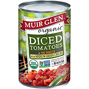 Muir Glen Canned Tomatoes, Organic Diced Tomatoes, Fire Roasted with Medium Green Chilies, No Sugar Added, 14.5 Ounce Can (Pack of 12)