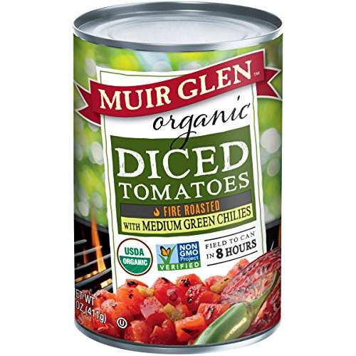 Muir Glen Canned Tomatoes, Organic Diced Tomatoes, Fire Roasted with Medium Green Chilies, No Sugar Added, 14.5 Ounce Can (Pack of 12) ()