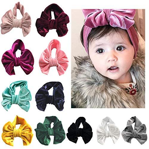 Wrap Bow - WZT 11 Pcs Baby Nylon Elastic Knotted Headbands Baby Head Wraps Baby Bling Bows (11 PCS)