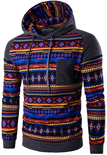jeansian Herren Casual Ethnic Style Hooded Pullover Hoody Hoodies Sweatshirt Sports Top 88G2 DarkGray M [Apparel]