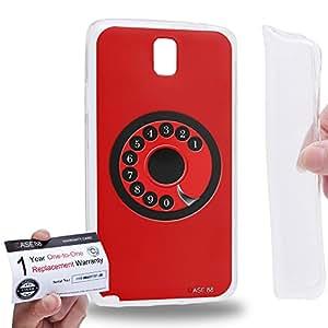 Case88 [Samsung Galaxy Note 3 Neo N750 N7505] Gel TPU Carcasa/Funda & Tarjeta de garantía - Art Hand Drawing Red Retro Phone