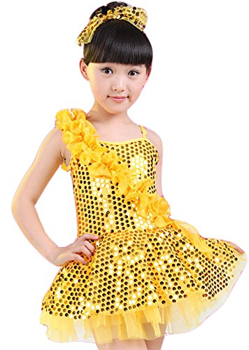 [AvaCostume Girls One Shoulder Latin Dance Costumes Paillettes Dress Performing Clothes, Yellow, 5] (Latin Costumes Dresses)
