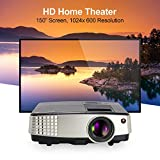 CAIWEI Portable LED LCD Projector Mini Support 1080P 720p HDMI, 2600 Lumens 150'' Outdoor Indoor Movie Night Multimedia HD Projector, For Blu-ray DVD Player, Laptops, Tablets, Smartphones, HD Games