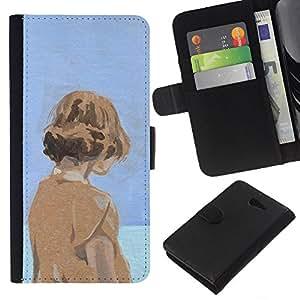 Be-Star la tarjeta de Crédito Slots PU Funda de cuero Monedero caso cubierta de piel Sony Xperia M2 ( Watercolor Blue Orange Girl Deep Sad )
