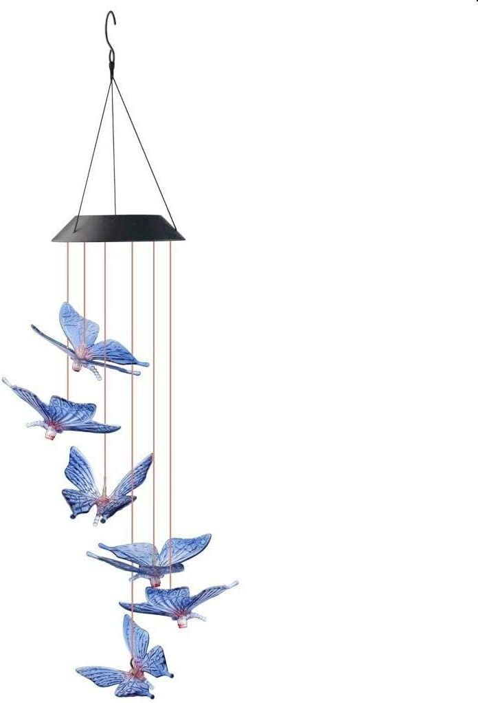 SUMERSHA Butterfly Wind Chime, Color Changing LED Solar Mobile Butterfly Wind Chimes Hanging Outdoor Solar Lights for Home Party Yard Garden Night Decoration
