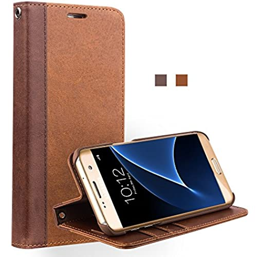 Galaxy S7 Case, Wallet case with Stand Feature, QIALINO Genuine Leather Flip Cover for Samsung Galaxy S7, Light Brown Sales