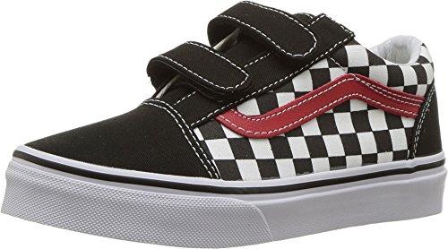 Price comparison product image Vans Kids' Old Skool V-K (13 M US Little Kid, (Checkerboard) Black/Red)