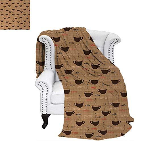 - Digital Printing Blanket Coffee Cups in Earthen Tones Fresh Espresso Latte Drink Caffeine Image Summer Quilt Comforter 50