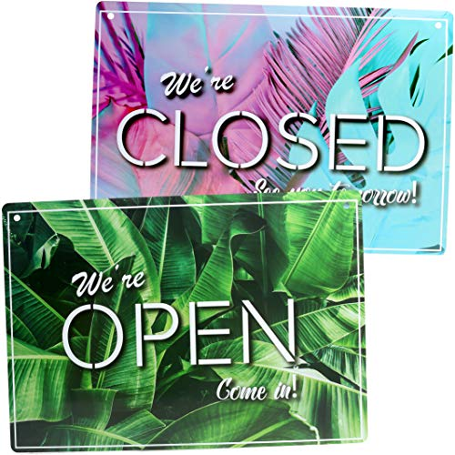 Stylish Open Sign, Closed Sign (Double Sided) - Lightweight & Waterproof Store Sign - Decorative Open Closed Sign for Business Welcome Sign (8.25