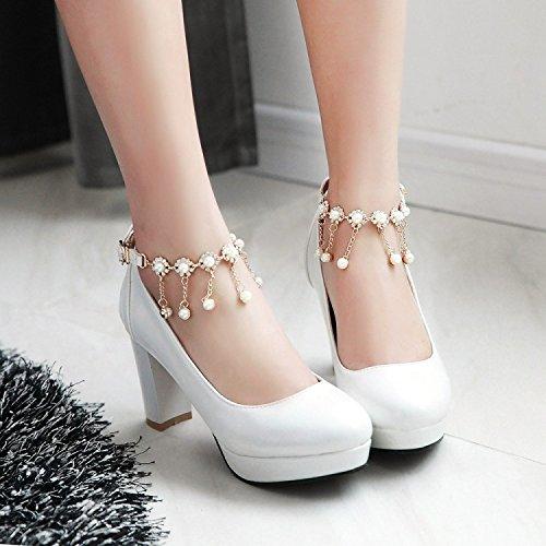 La Tacones Redonda Cabeza White Cadena Tamaño Una Impermeable Altos 40 Zapatos Hebilla Boca 41custom Plataforma Señoras Gruesos De Palabra Xie Custom Baja Borla Gran zItq5wz