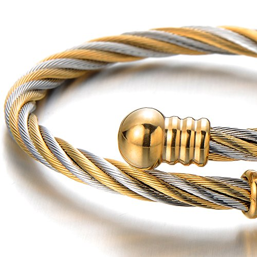 COOLSTEELANDBEYOND Elastic Adjustable Classic Stainless Steel Twisted Cable Cuff Bangle Bracelet for Mens for Women Silver Gold Two-tone