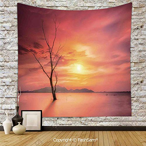 FashSam Polyester Tapestry Wall Lonely Dead Tree Forest Hills and River Under Dramatic Sky Sunrise View Hanging Printed Home Decor(W59xL78) -