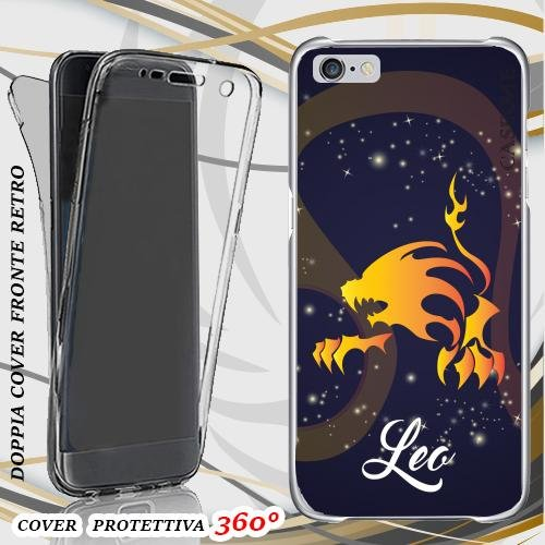 CUSTODIA COVER CASE LEONE ZODIACO PER IPHONE 6 FRONT BACK