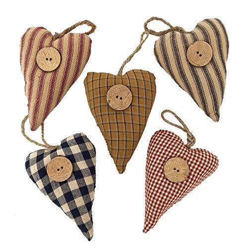 - Jubilee Creative Studio Set of 5 Homespun Fabric Heart Rustic Farmhouse Ornaments