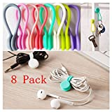 magnetic cord clip - Magnetic Cable Clips,8 Pack Multipurpose Magnetic Cable Organizer, Magnetic Cord Winder Wrap for Headphones/ Date USB Cable,Soft Silicone Earphone Cable Cord Organizer (8Pack)