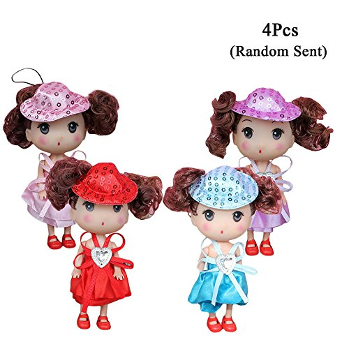 Sealive 4 Pack Baby Mini Dolls for Girls,American Girl Little Princess Babies Doll with Fashion Clothes Costume ,Cute Key Chain Hanging Play House Decoration Accessories(4.7