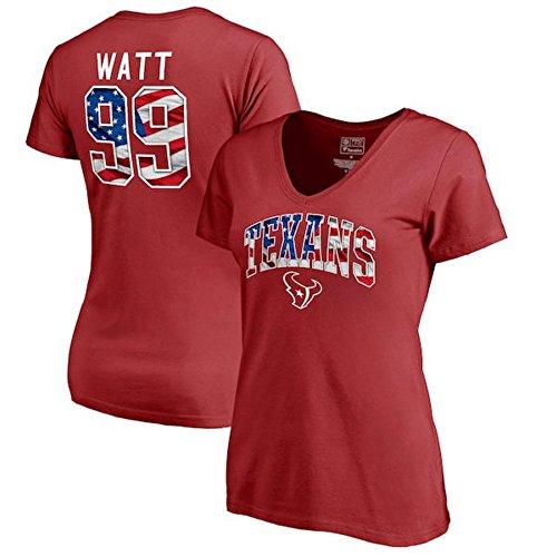 Fanatics Branded J.J. Watt Houston Texans Women's Banner Wave Name & Number T-Shirt - Red (Large) from Football Fanatics