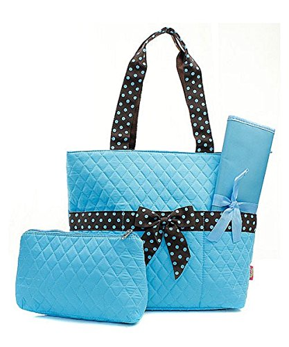 Quilted Solid Color with Polka Dots Trim Diaper Bag Baby Changing Pad Cosmetic Bag (Blue & Brown)