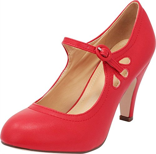 (Cambridge Select Women's Round Toe Mid Heel Mary Jane Dress Pump (9 B(M) US, Red))