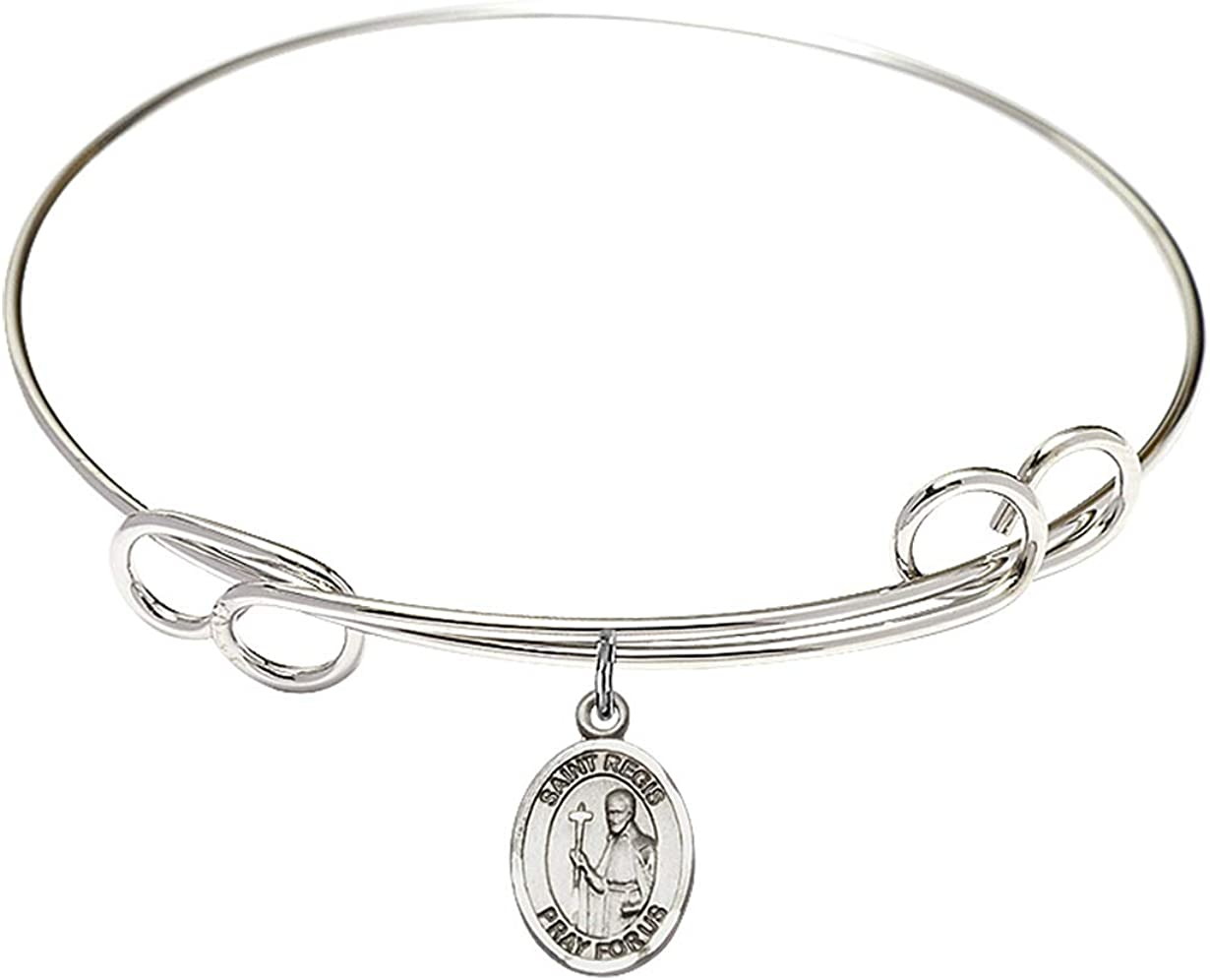 Philomena Charm. DiamondJewelryNY Double Loop Bangle Bracelet with a St