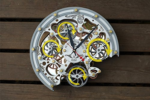 Automaton Bite 1682 White HANDCRAFTED moving gears wall clock by WOODANDROOT transparent steampunk wall clock, unique, personalized gifts, anniversary gift, large wall clock, home decor by WOODANDROOT (Image #8)