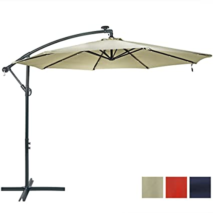Sunnydaze 10 Foot Outdoor Steel Offset Solar LED Patio Umbrella Cantilever,  Crank Cross Base