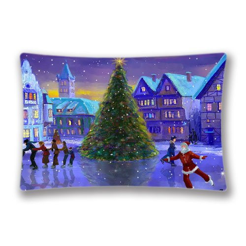 Zippered Christmas Rink screensaver and live Pillow Protector Sham Standard 20x36Inch Pillow Covers Rectangle Twin Sides Printing Pillowcases]()
