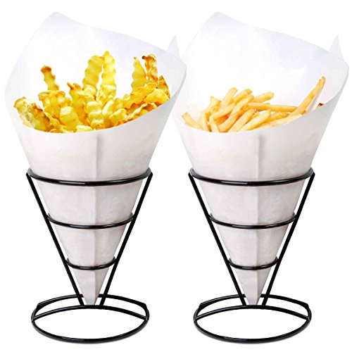 2 French Fry Stand Cone Basket Holder by Cobble Creek for Fries Chips Appetizers